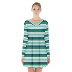 Stripey 14 Long Sleeve Velvet V-neck Dress by anthromahe