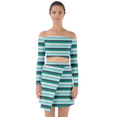 Stripey 14 Off Shoulder Top With Skirt Set by anthromahe