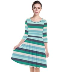 Stripey 14 Quarter Sleeve Waist Band Dress by anthromahe
