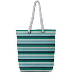 Stripey 14 Full Print Rope Handle Tote (small) by anthromahe