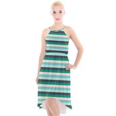 Stripey 14 High-low Halter Chiffon Dress  by anthromahe