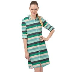 Stripey 14 Long Sleeve Mini Shirt Dress by anthromahe