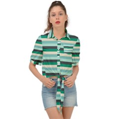 Stripey 14 Tie Front Shirt  by anthromahe