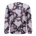 Navy Floral Hearts Men s Long Sleeve Tee View2