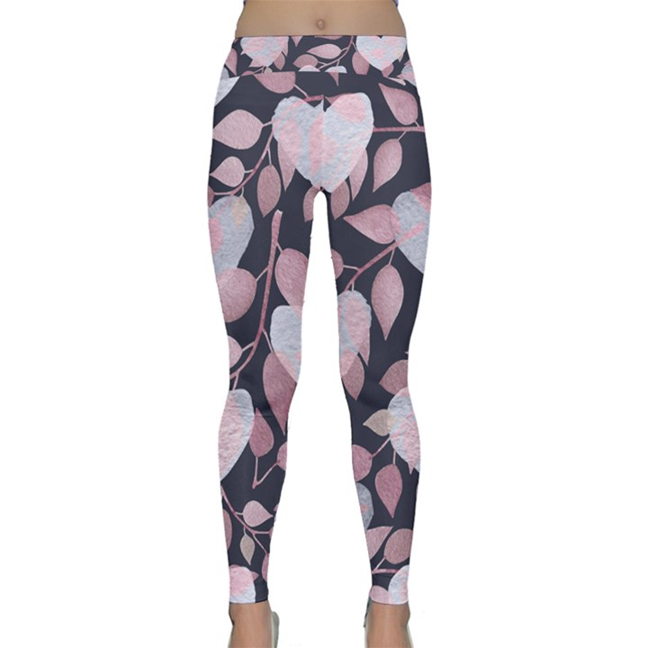 Navy Floral Hearts Classic Yoga Leggings
