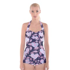 Navy Floral Hearts Boyleg Halter Swimsuit  by mccallacoulture