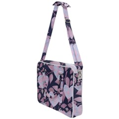 Navy Floral Hearts Cross Body Office Bag