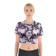 Navy Floral Hearts Cotton Crop Top by mccallacoulture