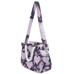 Navy Floral Hearts Rope Handles Shoulder Strap Bag by mccallacoulture