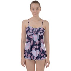 Navy Floral Hearts Babydoll Tankini Set by mccallacoulture