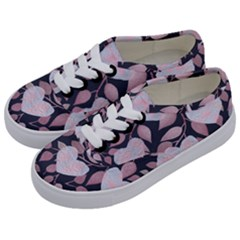 Navy Floral Hearts Kids  Classic Low Top Sneakers by mccallacoulture