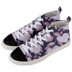 Navy Floral Hearts Men s Mid-top Canvas Sneakers by mccallacoulture