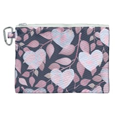 Navy Floral Hearts Canvas Cosmetic Bag (xl)
