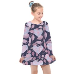 Navy Floral Hearts Kids  Long Sleeve Dress