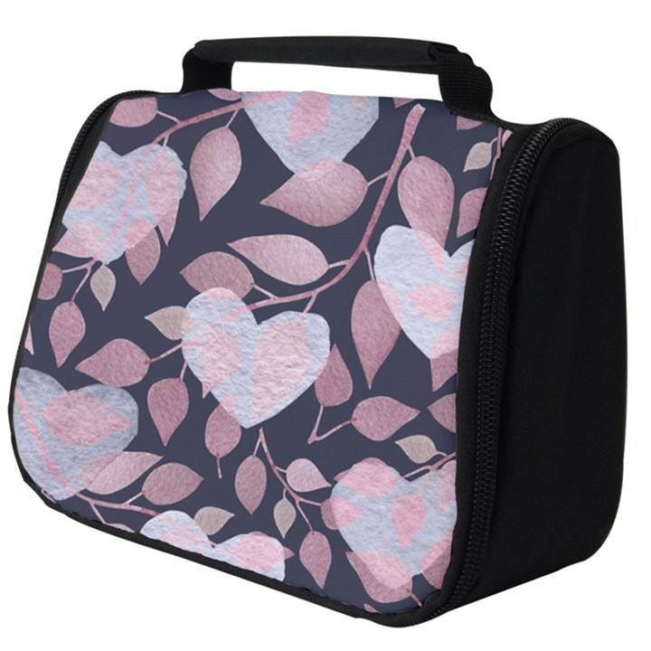 Navy Floral Hearts Full Print Travel Pouch (Big)