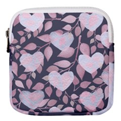 Navy Floral Hearts Mini Square Pouch