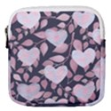 Navy Floral Hearts Mini Square Pouch View1