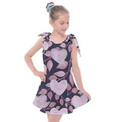 Navy Floral Hearts Kids  Tie Up Tunic Dress by mccallacoulture