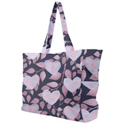 Navy Floral Hearts Simple Shoulder Bag by mccallacoulture