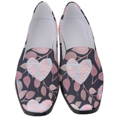 Navy Floral Hearts Women s Classic Loafer Heels by mccallacoulture