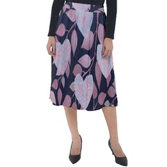 Navy Floral Hearts Classic Velour Midi Skirt  by mccallacoulture