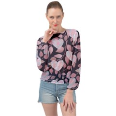 Navy Floral Hearts Banded Bottom Chiffon Top by mccallacoulture