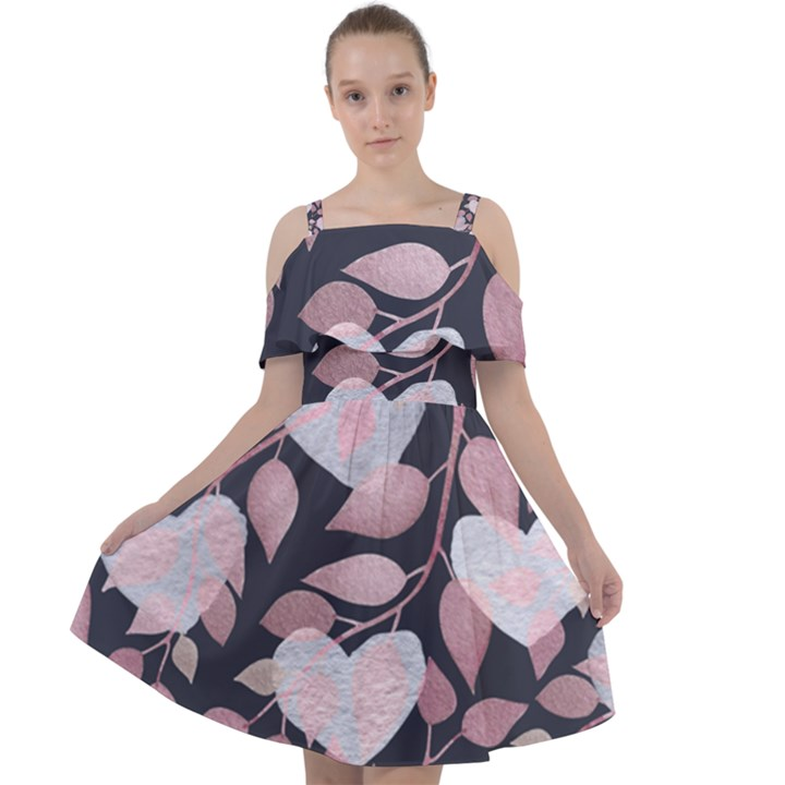 Navy Floral Hearts Cut Out Shoulders Chiffon Dress