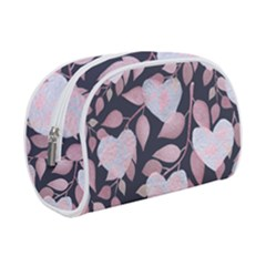 Navy Floral Hearts Makeup Case (small) by mccallacoulture