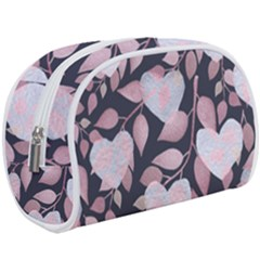 Navy Floral Hearts Makeup Case (large) by mccallacoulture
