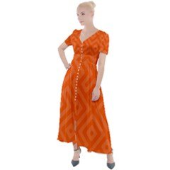 Orange Maze Button Up Short Sleeve Maxi Dress
