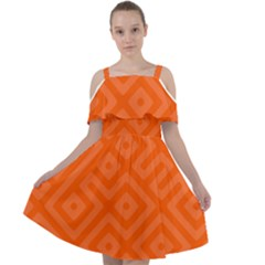 Orange Maze Cut Out Shoulders Chiffon Dress