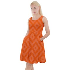 Orange Maze Knee Length Skater Dress With Pockets
