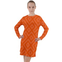 Orange Maze Long Sleeve Hoodie Dress