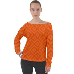 Orange Maze Off Shoulder Long Sleeve Velour Top