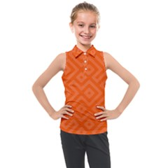 Orange Maze Kids  Sleeveless Polo Tee