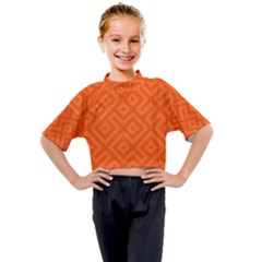 Orange Maze Kids Mock Neck Tee