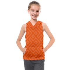 Orange Maze Kids  Sleeveless Hoodie