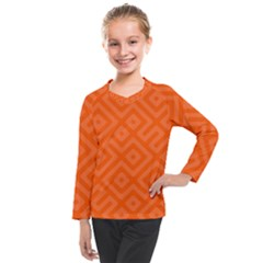 Orange Maze Kids  Long Mesh Tee