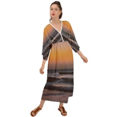 Seascape Sunset At Jericoacoara, Ceara, Brazil Grecian Style  Maxi Dress