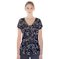 Swirly Gyrl Short Sleeve Front Detail Top by mccallacoulture
