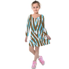Floral Rivers Kids  Long Sleeve Velvet Dress