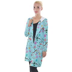 Birds And Flowers Hooded Pocket Cardigan