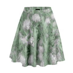 Green And White Textured Botanical Motif Manipulated Photo High Waist Skirt
