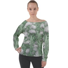 Green And White Textured Botanical Motif Manipulated Photo Off Shoulder Long Sleeve Velour Top