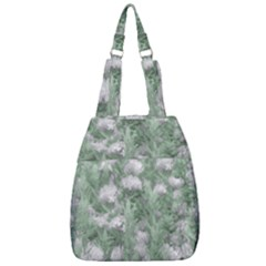 Green And White Textured Botanical Motif Manipulated Photo Center Zip Backpack