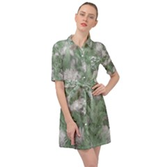 Green And White Textured Botanical Motif Manipulated Photo Belted Shirt Dress