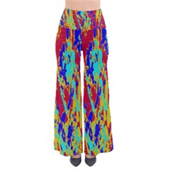 Multicolored Vibran Abstract Textre Print So Vintage Palazzo Pants by dflcprintsclothing