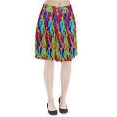 Multicolored Vibran Abstract Textre Print Pleated Skirt