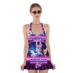 Cosmic Cat Halter Dress Swimsuit