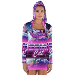 Cosmic Cat Long Sleeve Hooded T Shirt